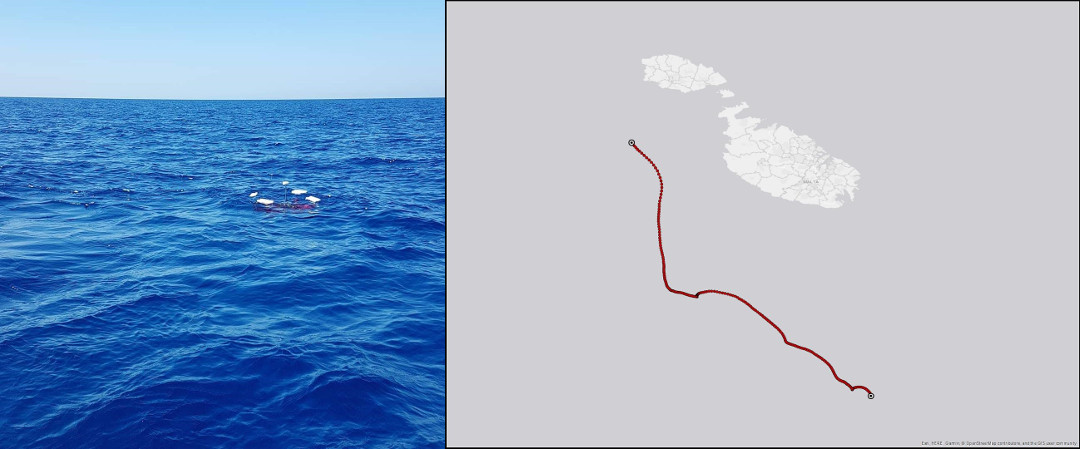 Drifter deployed on 24/08/2020 09:00 (UTC) moving south.