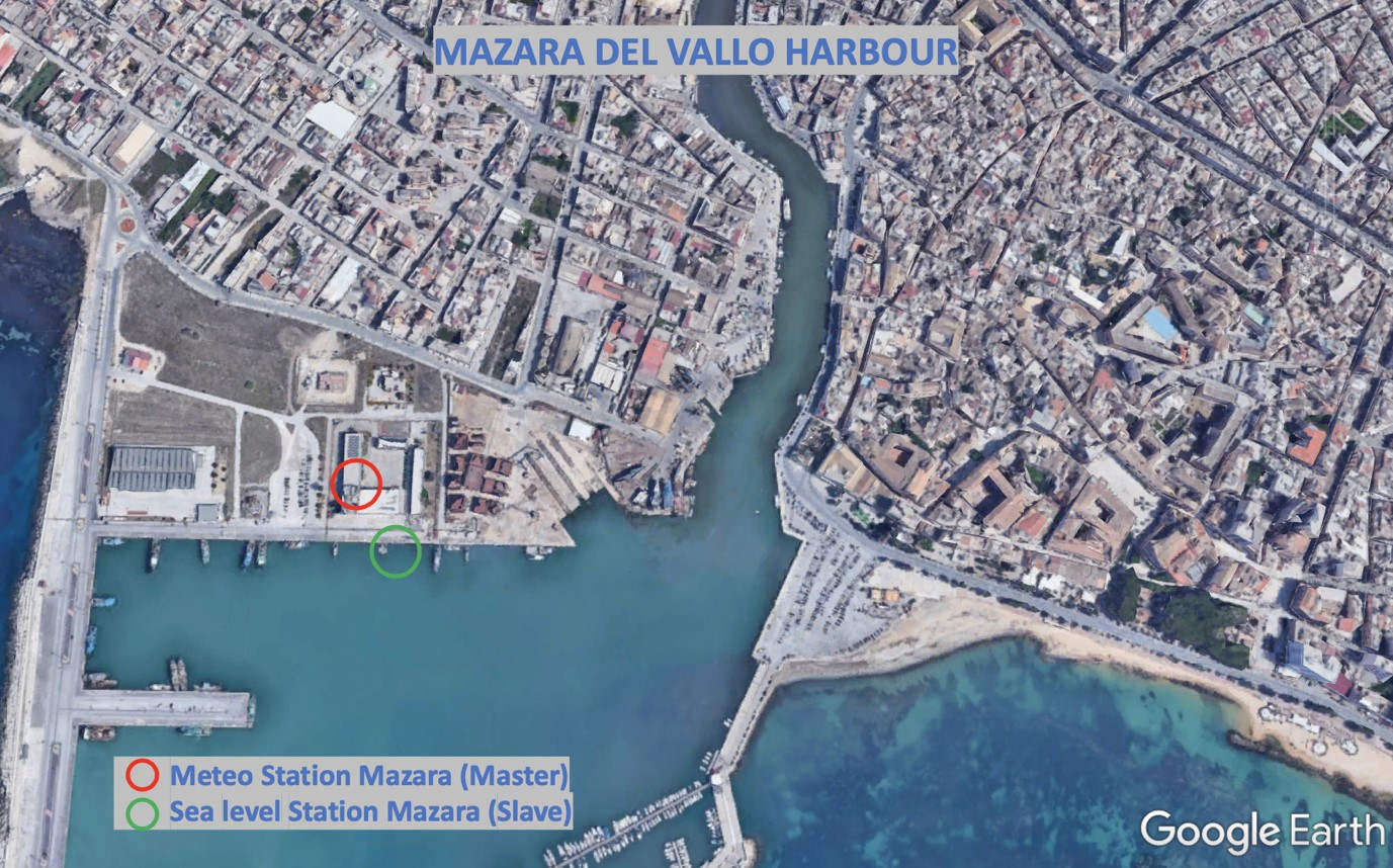 Map showing                                                  location of Mazara del Vallo stations