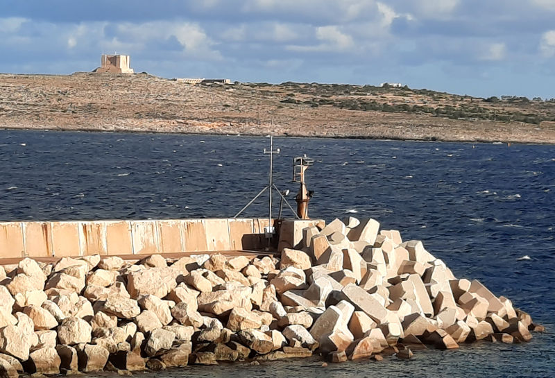Meteo                                          station at the end of the breakwater in                                          the Port of Ċirkewwa.
