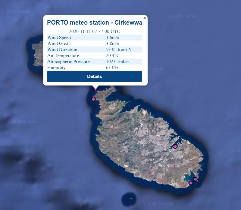 Realtime data from Cirkewwa meteo station as                                                  displayed on the PORTO online interface