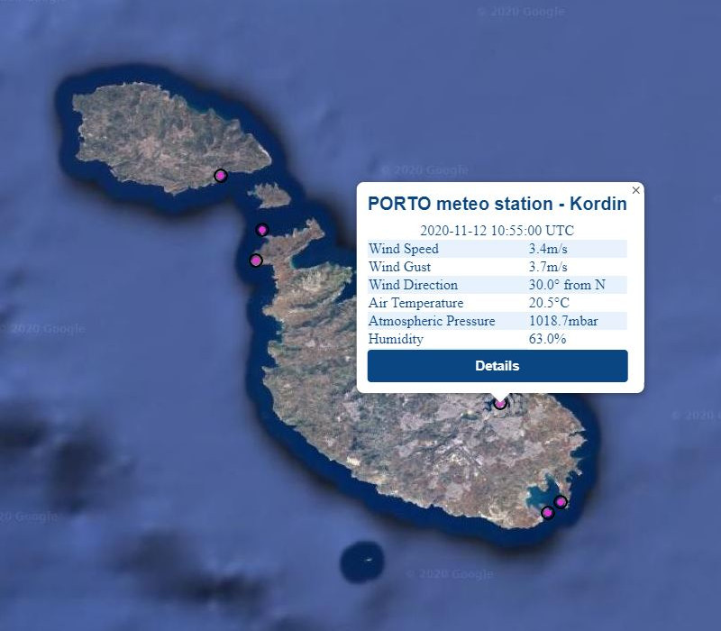 Realtime data from Kordin meteo station as                                                  displayed on the PORTO online interface
