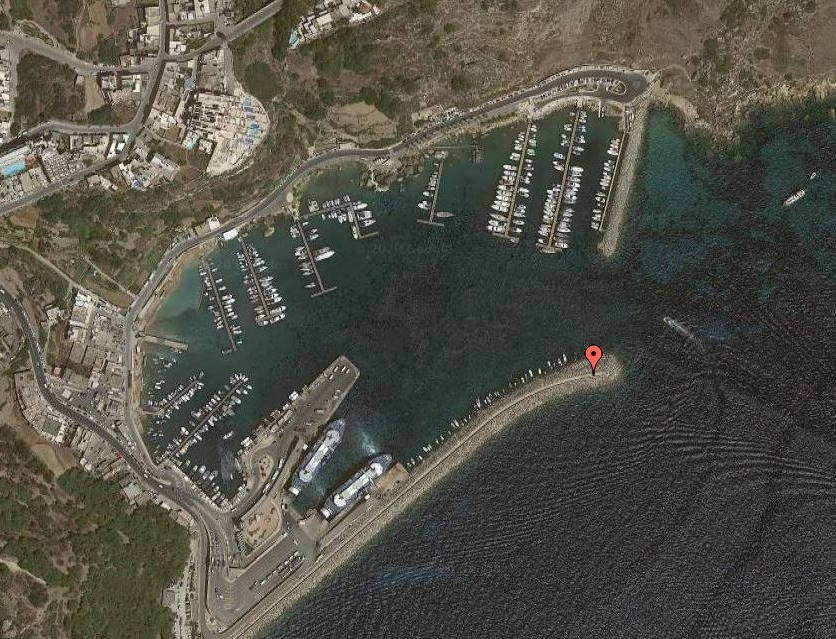 The red marker shows the position of the                                                  meteo station within Port of Mġarr.