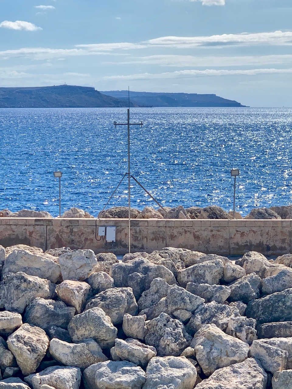 Meteo                                          station at the end of the breakwater in                                          the Port of Mġarr.