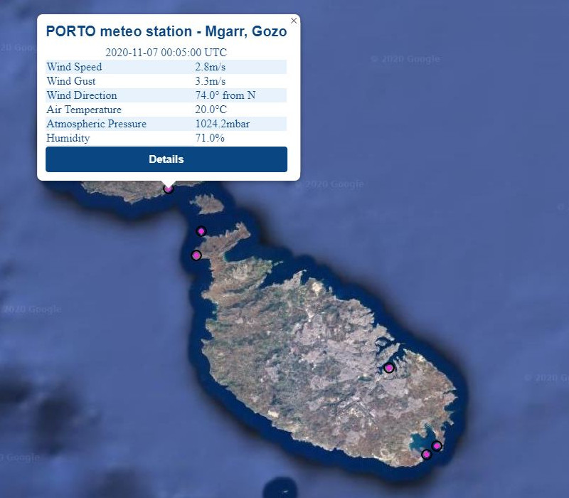 Realtime data from Mġarr meteo station as                                                  displayed on the PORTO online interface